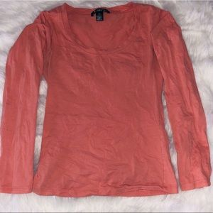 Tops - Coral colored long sleeve T, size S